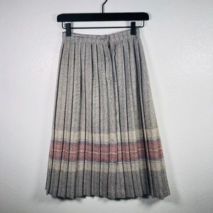 Vintage | Pleated Button Down Wool Blend Skirt